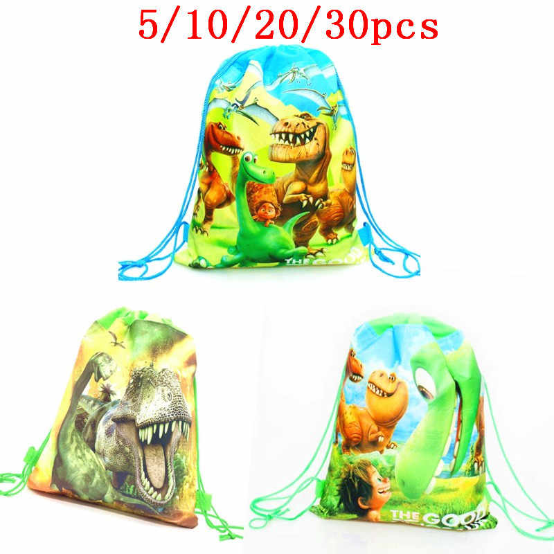 5/10/20/30PCS Birthday Party Boys Favors Cartoon Cute Dinosaur Theme Decorate Non-woven Fabric Baby Shower Drawstring Gifts Bags