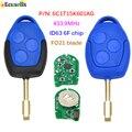 3 кнопки дистанционный ключ-брелок от машины 433 МГц 4D63 6F чип FO21 лезвие для Ford Transit WM VM 2006-2014 P/N: 6C1T15K601AG черного и синего цвета