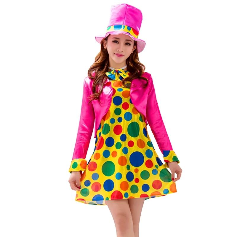 Clown Girl Circus Carnival Polka Dot Fancy Dress Up Halloween Child Costume