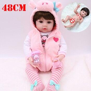 premie newborn 48CM full body silicone pink pig dress bebe reborn doll water proof bath doll toy Christmas gift