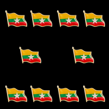 10PCS Myanmar Zinc Alloy National Flag Lapel Pins brooch Badge Emblem 10pcs collectible national flag slovenia country zinc alloy lapel pins set brooch badge for clothing accessories