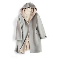 2019 Woolen Coat Women Long Winter Jacket Casual Outerwear Solid Color Hooded Overcoat Ladies