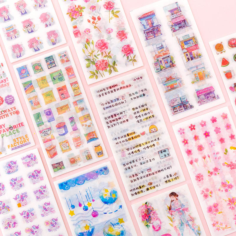 6Sheets Vintage Stationery Stickers Cute Unicorn Flower Stickers Heart Adhesive Sticker For Kids Decor Scrapbooking Diary Albums