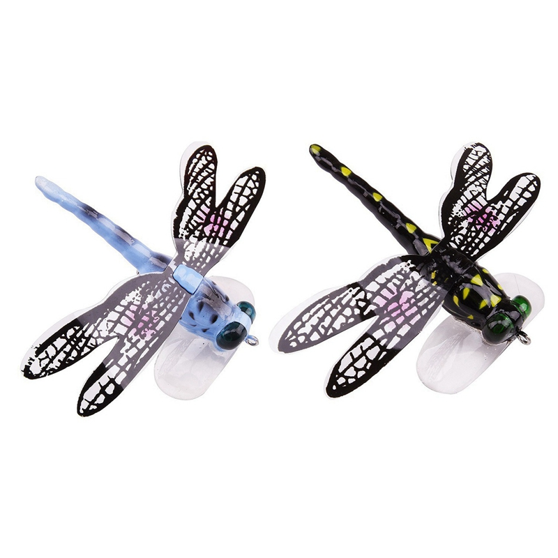 2 Pcs Fishing Floating Bait Dragonfly Artificial Simulated Fly Fishing Lure Colorful Baits Bionic Water Surface Fly Insect Acces|Fishing Lures| |  - title=