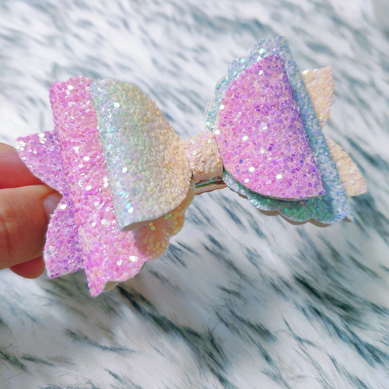 Hair Bows For Kids Girls Clip Solid Printed Bowknot Hair Bows For Kids Girls Rainbow Hair Accessories Hairpins Barrette Sequin