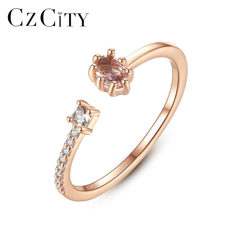 CZCITY Pure 925 Sterling Silver Delicate Resizeable Finger Rings For Women Girls Party Engagement Thing Ring Fine Jewelry SR0340