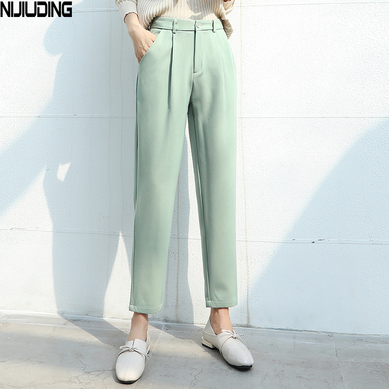 NIJIUDING Women Suit Pants 2020 Spring Summer Female Casual Hihg Waist Formal Harem Pant Straight Trousers Office Lady Pantalon
