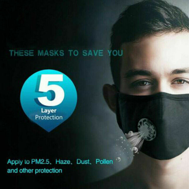 Cotton PM2.5 anti dust mask Black mouth Mask Activated carbon filter Windproof Mouth-muffle bacteria proof Flu Face masks Care 2