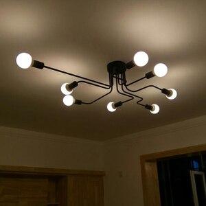 Image 4 - Lampe suspendue en fer forgé à plusieurs tiges, design moderne, luminaire Vintage, luminaire de plafond, ampoules E27, pendentif LED