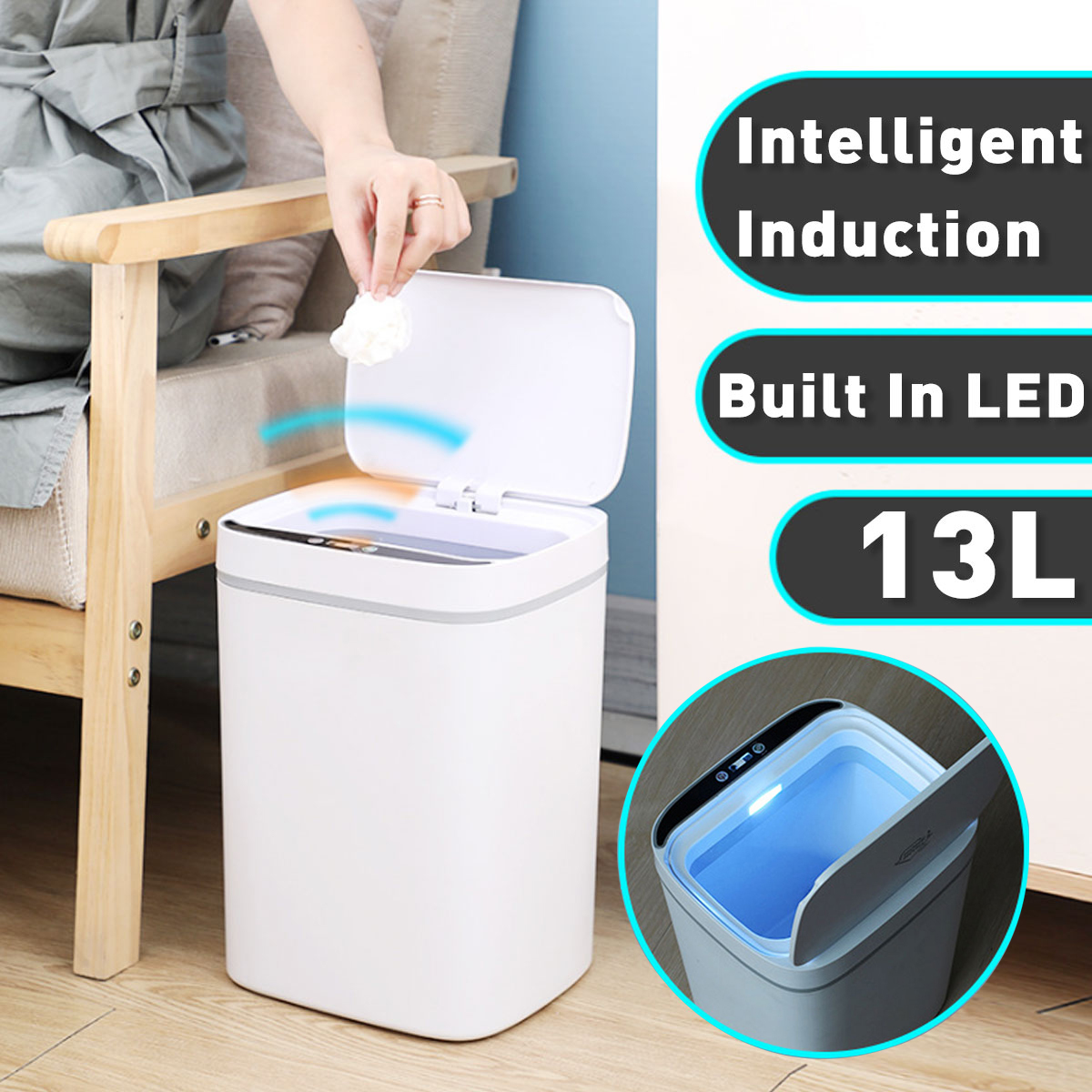11/13L LED Light Intelligent Automatic Touchless Smart Infrared Motion Sensor Rubbish Waste Bin Kitchen Trash Can Garbage Bins