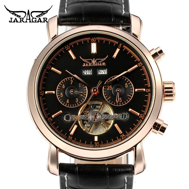 JARAGAR hommes bracelet en cuir tourmilliard automatique mécanique montre cadeau boîte relogio masculino zegarek reloj hombre
