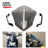 KEMiMOTO For YAMAHA MT 09 MT09 WindScreen Windshield accessories For MT 09 FZ 09 2014 2015 2016 Wind Deflectors