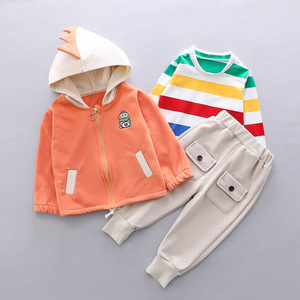 Image 4 - Toddler Clothes Kid Baby Boys Hooded Jacket T Shirt Clothing Sets 3PCS/Set Cotton Infant Children Outwear Boys 1 2 3 4 Years