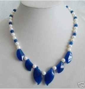 טבעי מקסים די לבן פנינה & כחול אבן עלים שרשרת AKOYA משלוח