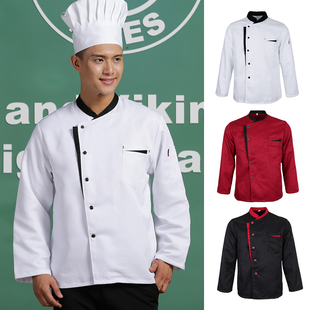 Long Sleeves Chef Jacket Coat Hotel Waiters Kitchen Uniform Tops White Red Black Restaurant Work Wear Uniform