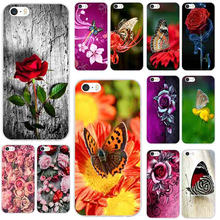 Red Butterfly On White Roses Mobile Phone Accessories Case for iPhone 8 7 6 6S Plus X XR XS Max 5 5S SE 5C 4S 4 Bags(China)
