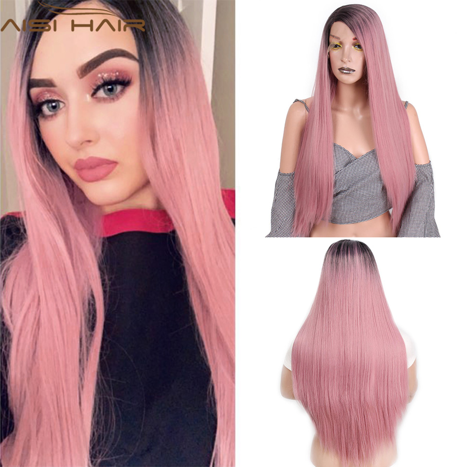 I's a wig 13x4 Long Straight Lace Front Wigs Synthetic Ombre Pink lace wigs for Women Blonde Cosplay Wig Heat Resistant Hair