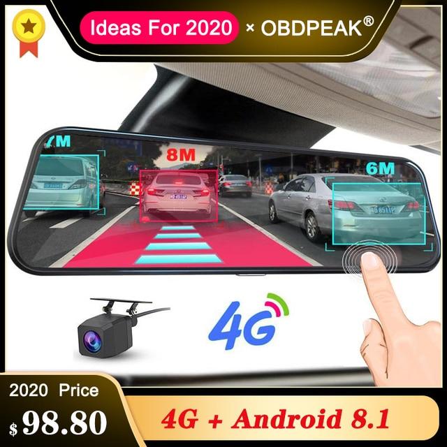 """A980 4G Android 8.1 ADAS 10"""" Stream Rear View Mirror Dash Cam Camera Car Camera Recorder Dvr Dashcam GPS Navigation 1080P WIFI"""