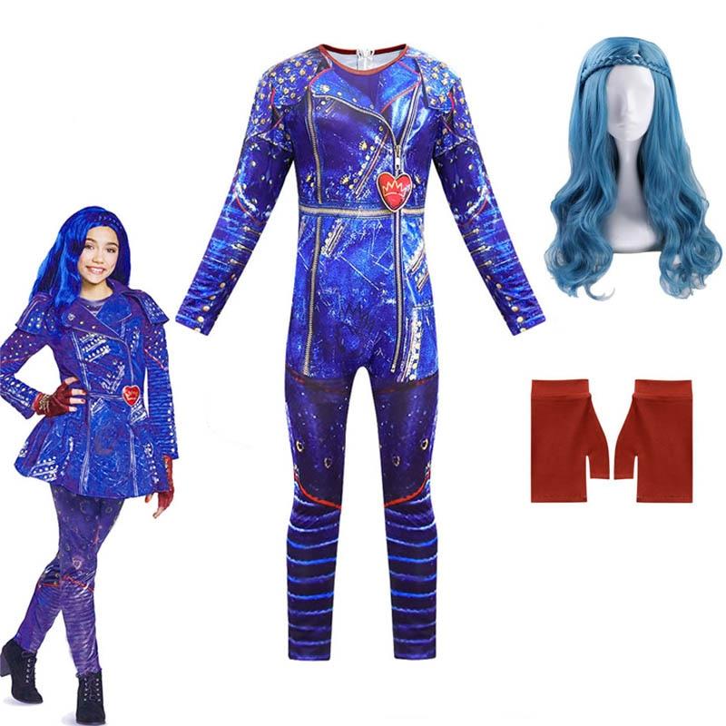 Детский костюм на Хэллоуин; Детский Anilnc изображением героев фильма «наследники» 3 Иви маскарадные костюмы для девочек с парик + перчатки, де...