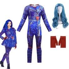 Traje de halloween para crianças descendentes anilnc 3 evie meninas fantasias cosplay com peruca + luvas crianças festa carnaval macacões
