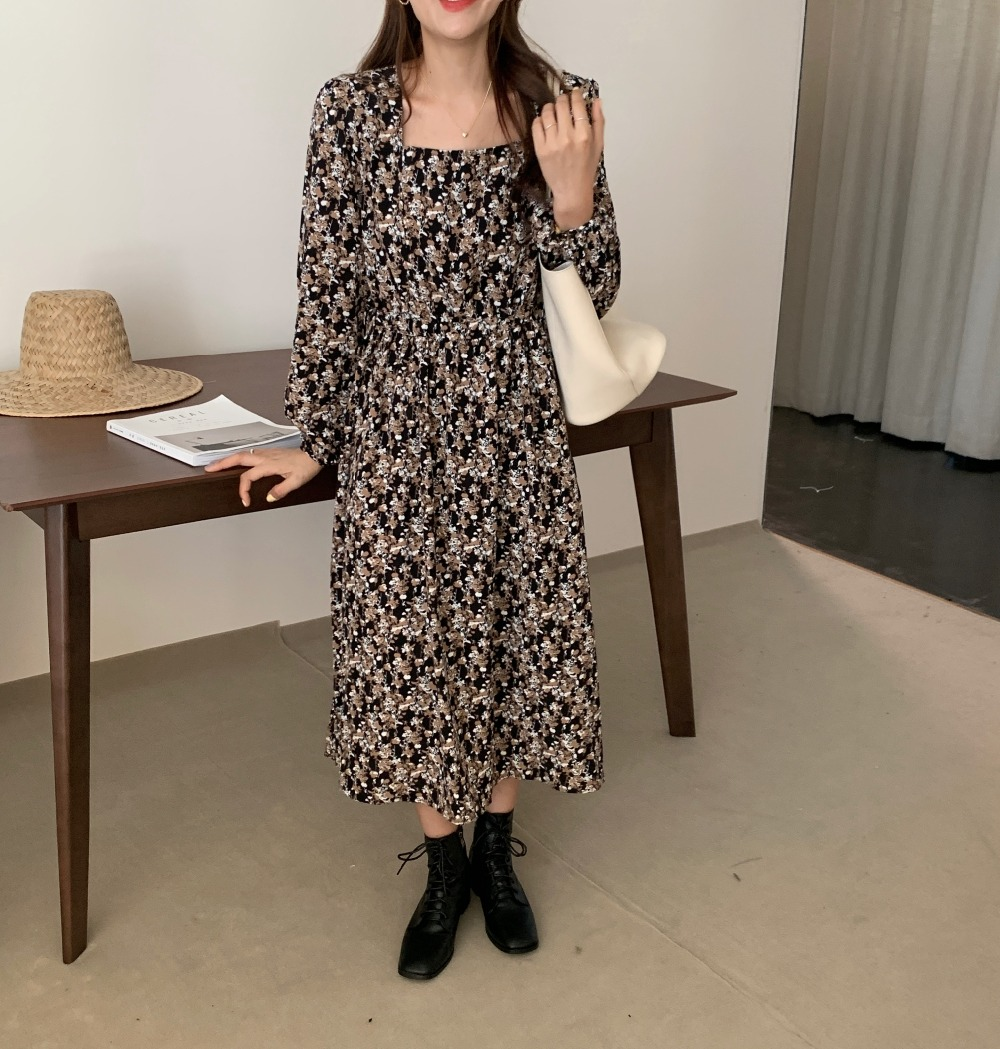 H06dcd60342a6481b99ebf87fff68193aw - Autumn Square Collar Lantern Sleeves Floral Print Midi Dress
