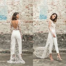 Пляжный комбинезон Свадебные платья круглый вырез длинный рукав
