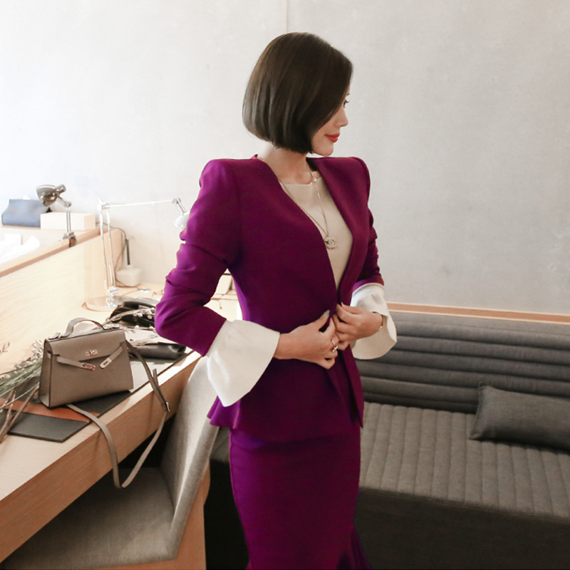 Set 2019 Autumn And Winter Korean-style New Style V-neck Suit Coat + High-waisted Flounced Skirt Two-Piece Set