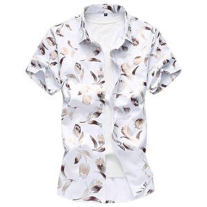 Slim-Fit Short-Sleeve Casual Shirts Printing Shirts/men's Fashion Summer 5XL Lapel Male