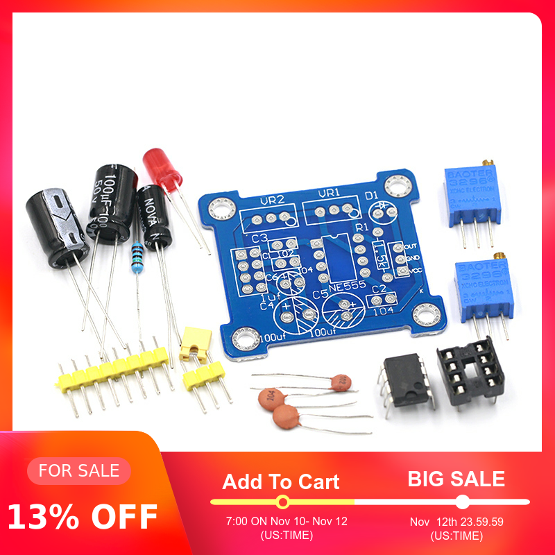 NE555 Pulse Frequency Duty Cycle Square Wave Rectangular Wave Signal Generator Adjustable 555 Board NE555P Module