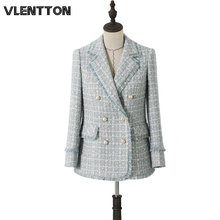 2020 Spring Autumn Vintage Plaid Tweed Blazers And Jackets Women Pearls Tassel Slim Suit Outwear Female Coat Office Blazer Mujer