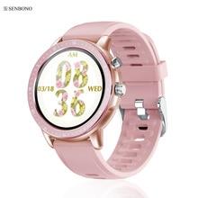 Senbono 2020 S02女性新規スマート腕時計フルスクリーンタッチフィットネストラッカー男性時計天気予報スマートウォッチiosアンドロイド