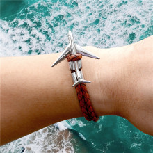 MKENDN Titanium Stainless Steel Airplane Anchor Bracelets Men Multilayer Braid Genuine Leather Bracelet Women Friendship Gifts