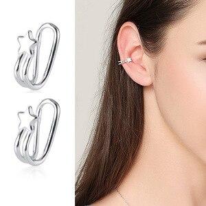 Sólido 925 prata esterlina estrela orelha brincos manguito simples não-perfurado orelha punhos clip em brincos para meninas femininas