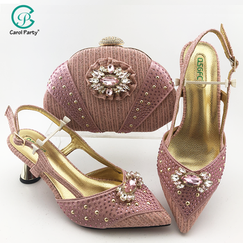 2020 Newest Pink Color Shoes and Bag To Match Italian design Women Shoe and Bag To Match for Parties African Shoes and Bag Set