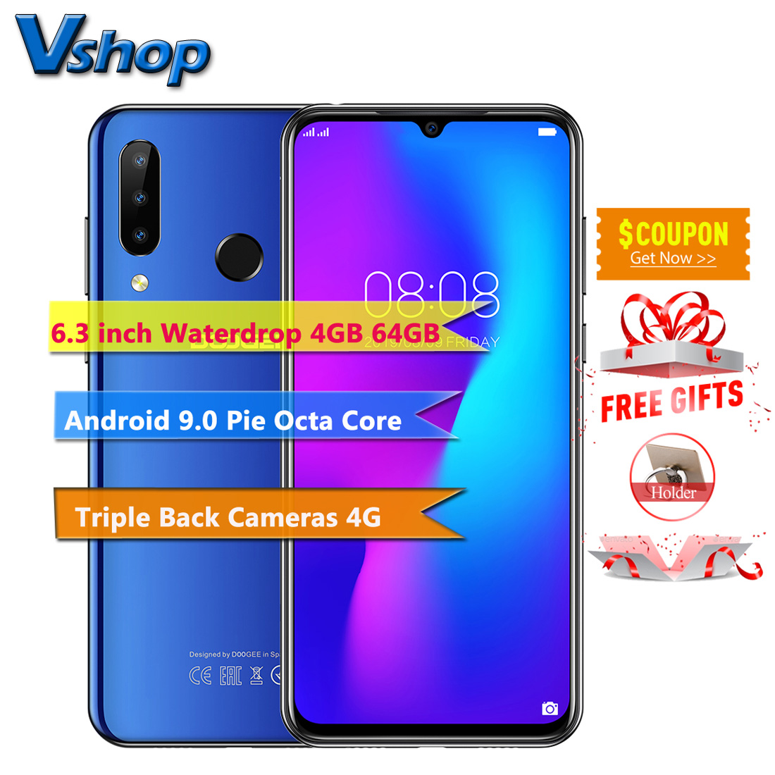 DOOGEE N20 4GB+64GB 6.3inch Waterdrop Screen 3 Back Camera Android 9.0 Pie Octa Core Fingerprint ID 4350mAh 4G LTE Smartphone