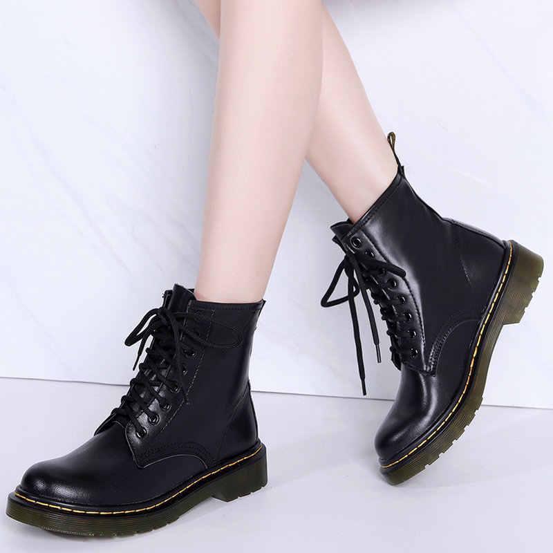 แฟชั่นผู้หญิงผู้ชายของแท้รองเท้าหนังผู้หญิงฤดูหนาวรองเท้าบู๊ทข้อเท้ากันน้ำ Casual Lace Up รองเท้าแฟชั่น Unisex สีดำ Botas Muje