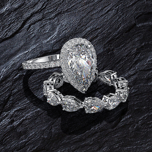 Image 2 - Juegos de anillos de compromiso con piedras preciosas de molissanita, pera de plata esterlina sólida 925, banda de boda, joyería fina, venta al por mayor
