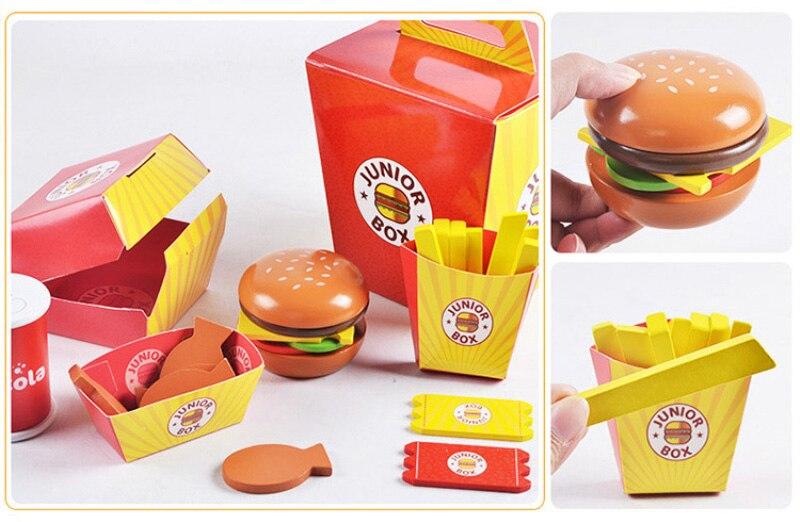 Simulação de madeira hamburger fries fast food