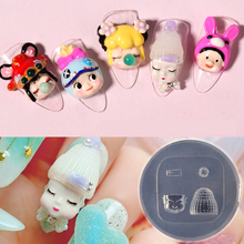 Nail-Mold Mould Manicure-Accessory Carved-Design Silicone DIY Cute Cartoon 3D 1pcs Face-Ice-Cream