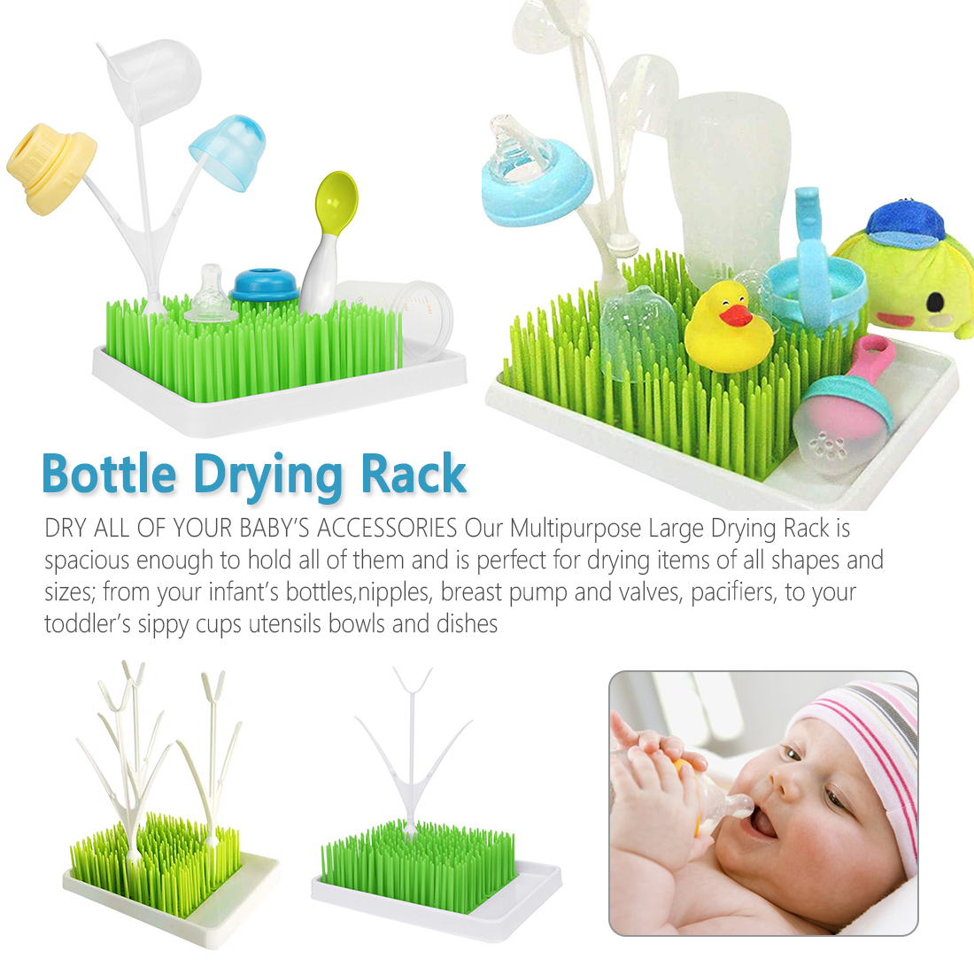 Baby Bottle Drier Grass Shape Toddler Pacifier Cleaning Drying Rack Shelf Newborn Nipple Milk Kettle Water Collect Groove