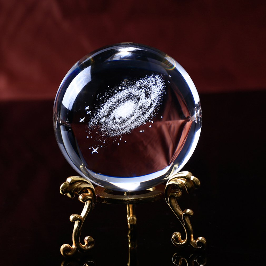 Globe Galaxy Miniatures Crystal Ball 3D Laser Engraved Quartz Glass Ball Sphere Home Decoration Accessories Gifts