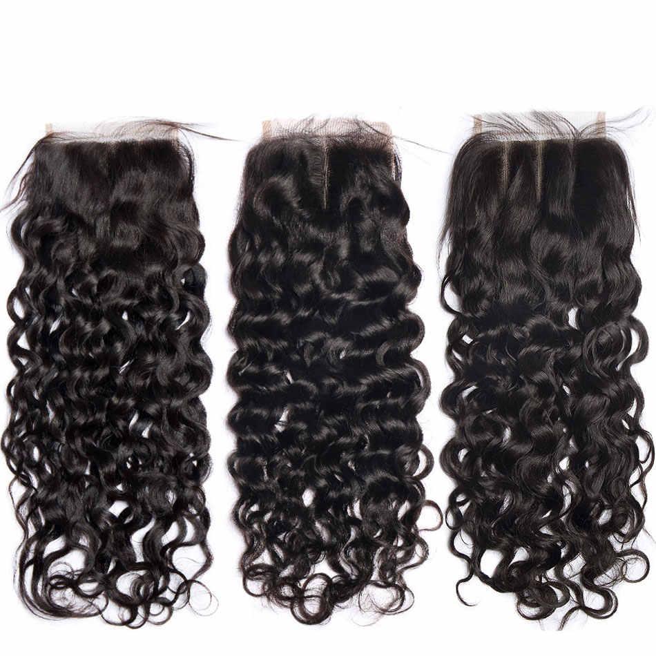 Fecho de cabelo brasileiro, pacotes de ondas de água com fecho de renda 100% de cabelo humano 3 pacotes com fecho não remy lanqi