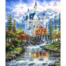 Fantasia castelo 5d diy redondo completo broca pintura diamante mosaico arte artesanato beadwork strass decoração da parede casa presente