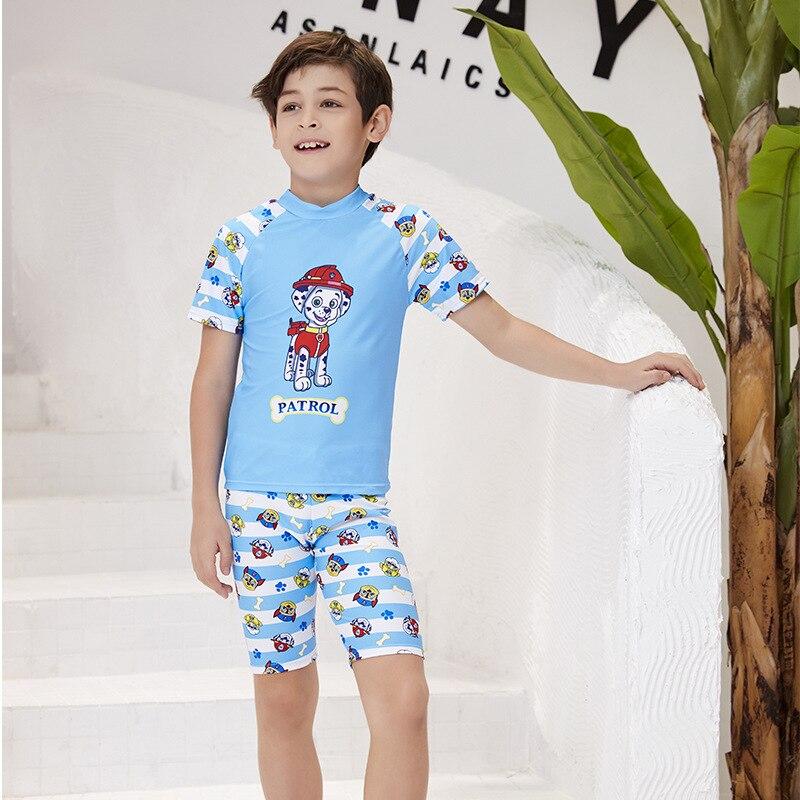 2019 Europe And America New Style Hot Sales KID'S Swimwear Send Swimming Cap Split Type Two-Piece Set Cartoon Short Sleeve Short