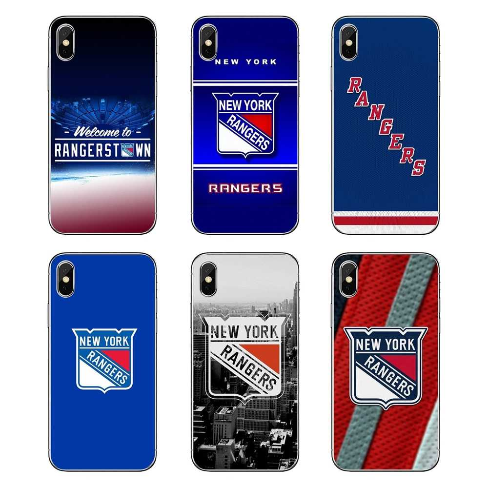 Fundas transparentes suaves para iPod Touch iPhone 4 4S 5 5S 5C SE 6 6S 7 8 X XR XS Plus MAX Hockey sobre hielo Rangers de Nueva york