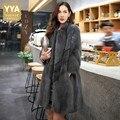 Luxury Top Brand Mink Fur Real Fur Womens Medium Length Overcoats Korean Stand Collar Nine Points Sleeve Female Outerwear Coats