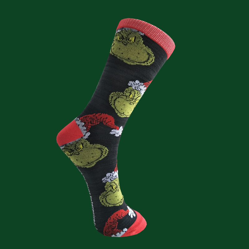 Cartoon How The Grinch Stole Men Socks Crew Cotton Warm Happy Christmas Compression Funny Streetwear Winter Sock Anime  Harajuku