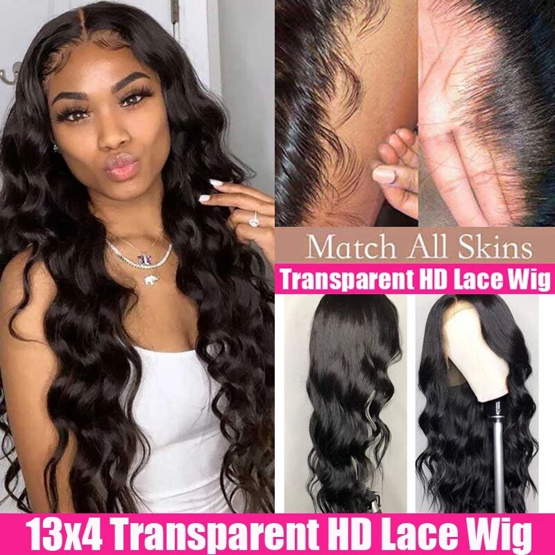 HD Transparent Lace Frontal Wigs Body Wave Wig Invisible 180 200 150 Density Lace Front Human Hair Wigs Remy 13x4 Brazilian Wig