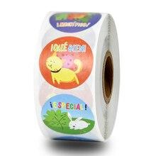 500 pcs/roll cute stickers cartoon animal stationery sticker for encourage children, children's day gift decoration