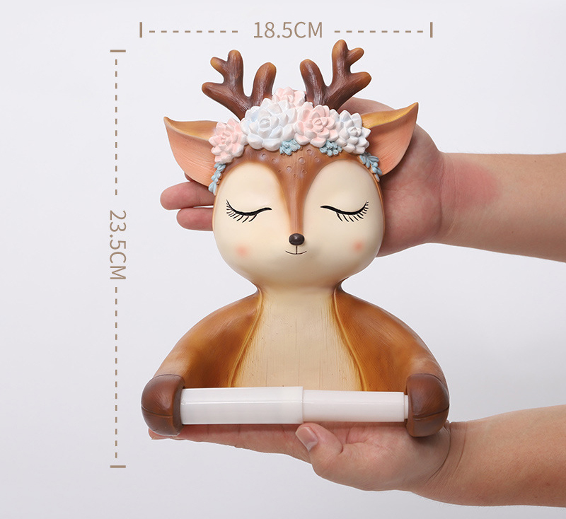 3D Sika Deer Statue Wall Decor Sculpture Home Wall Decoration Accessories Bathroom Wall Hanging Tissue Box Animal Figurine Mural 11